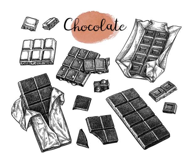 초콜릿 세트입니다. - 초콜릿 stock illustrations