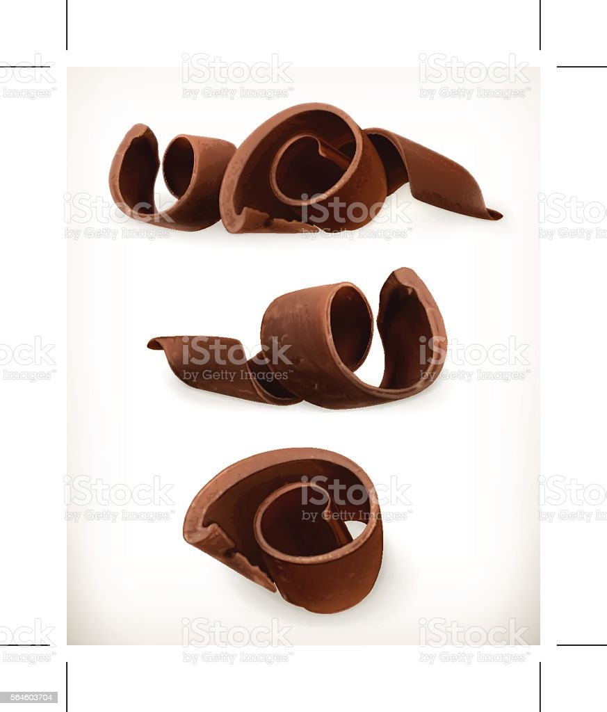 Chocolate shavings, chocolates curl vector art illustration