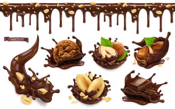 schokoladenspritzer mit erdnüssen, haselnüssen, schokoladenkeksen. nahtloses muster. 3d vektor realistische lebensmittelobjekte gesetzt - schokolade stock-grafiken, -clipart, -cartoons und -symbole