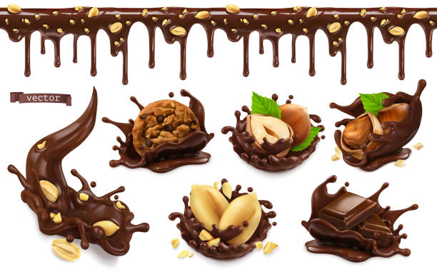 illustrazioni stock, clip art, cartoni animati e icone di tendenza di chocolate splashes with peanuts, hazel nuts, chocolate cookies. seamless pattern. 3d vector realistic food objects set - cioccolata