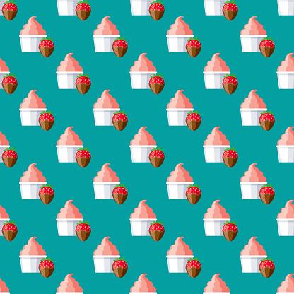 Chocolate Strawberry Ice Cream Pattern