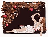 Illustration of woman eating chocolate covered strawberries with a chocolate strawberry plant border.