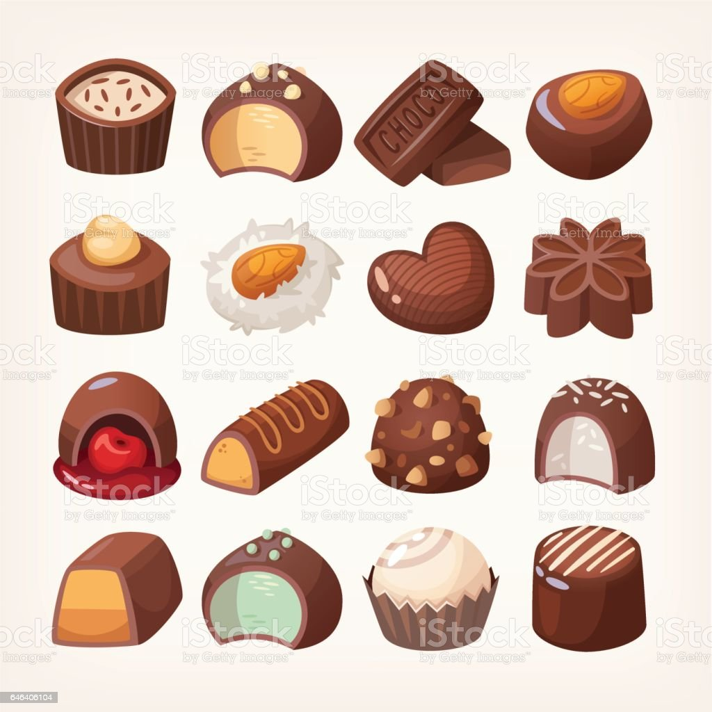 Chocolate sweets box vector art illustration