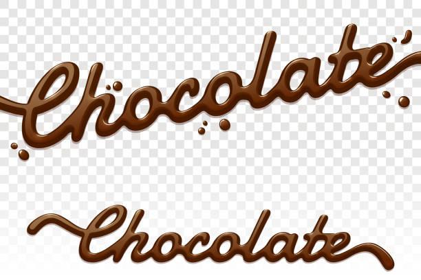 schokolade text auf transparentem hintergrund isoliert. schokolade hand gezeichneten schrift. sahne spritzt. vektor-design-element für werbung, verpackung, plakat, menü. eps-10. - schokolade stock-grafiken, -clipart, -cartoons und -symbole