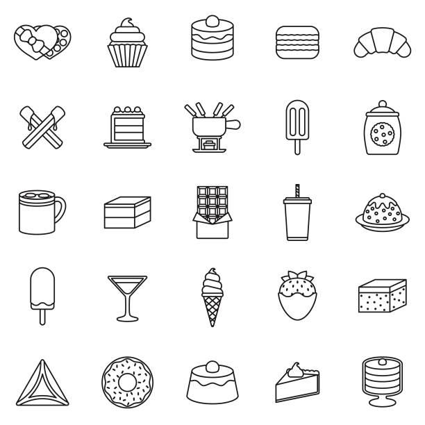 stockillustraties, clipart, cartoons en iconen met chocolade dunne lijn icon set - bevroren voedsel