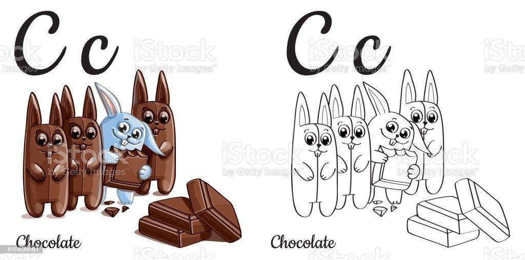 Chocolate Letra Del Alfabeto Vector C Página Para Colorear ...