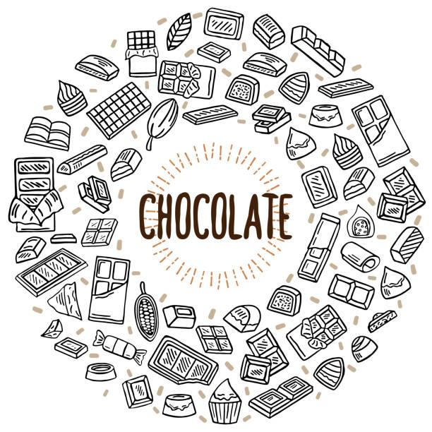 schokolade vektor illustration doodle - tortenriegel stock-grafiken, -clipart, -cartoons und -symbole