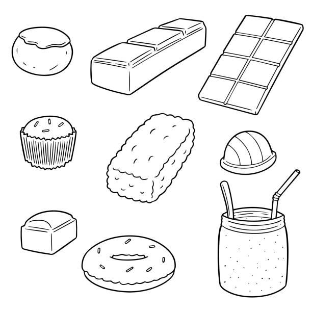 - schokolade  - tortenriegel stock-grafiken, -clipart, -cartoons und -symbole