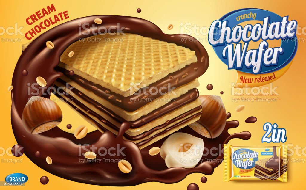 Chocolate wafer ads vector art illustration