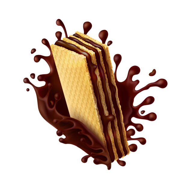 Chocolate wafer with melted chocolate splash Waffle cookies with chocolate filling and splash of melted chocolate realistic vector illustration isolated on white background. Mock up for packing sweets, design element for advertising promo poster stuffed stock illustrations