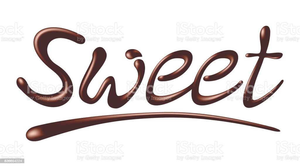 chocolate word sweet realistic vector illustration stock vector art