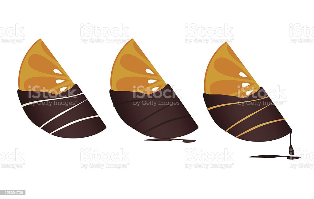 Chocolate-dipped Tangerines royalty-free stock vector art