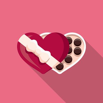 Chocolates Flat Design Valentine's Day Romance Icon