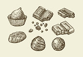 Chocolates. Hand drawn sketch sweets, caramel, candy, bonbon, sweetmeat. Vector