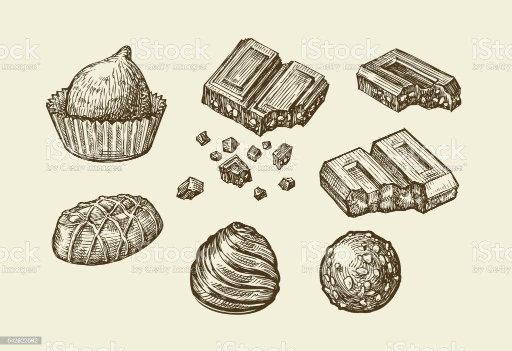 Chocolates. Hand drawn sketch sweets, caramel, candy, bonbon, sweetmeat. Vector vector art illustration