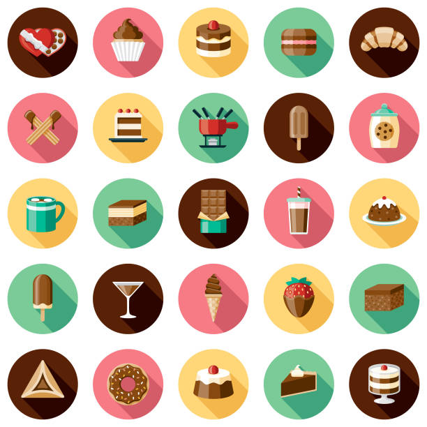 Chocolates Icon Set A set of icons. File is built in the CMYK color space for optimal printing. Color swatches are global so it's easy to edit and change the colors. candy icons stock illustrations