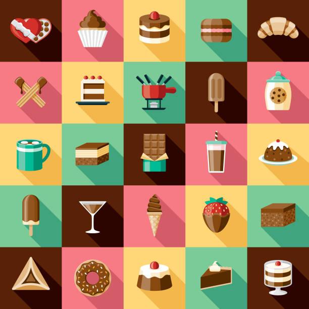bildbanksillustrationer, clip art samt tecknat material och ikoner med choklad ikonuppsättning - brownie