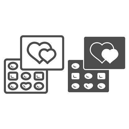 Chocolates in a box line and solid icon, Chocolate festival concept, chocolates in heart shaped box sign on white background, Valentine day dessert icon in outline style. Vector graphics.