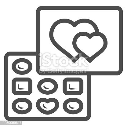 istock Chocolates in a box line icon, Chocolate festival concept, chocolates in heart shaped box sign on white background, Valentine day dessert icon in outline style. Vector graphics. 1280089617