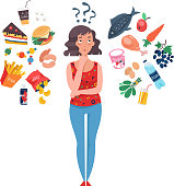Woman choosing between healthy and unhealthy food. Fast Food vs balanced menu comparison. Concepts diet and healthy eating. Female cartoon character. Flat vector illustration.