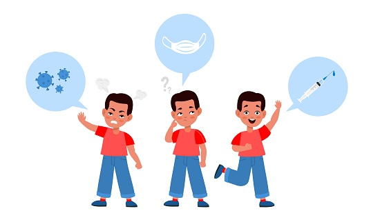 Choice in vaccines favor. Boy in red t-shirt in thinking process. Coronavirus medical masks or vaccination, formation of immunity from disease, prevention epidemic, vector cartoon concept