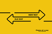 Choice of a way. Old road or new way. Template landing page. Form for web design and text placement. Vector illustration design black line. Direction of arrows forward or backward.