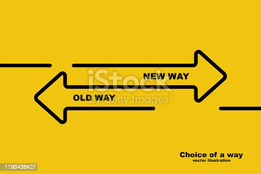 istock Choice of a way. Old road or new way. 1195438427