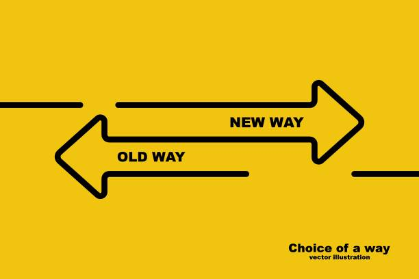 bildbanksillustrationer, clip art samt tecknat material och ikoner med val av ett sätt. gamla vägen eller nya vägen. - det förflutna