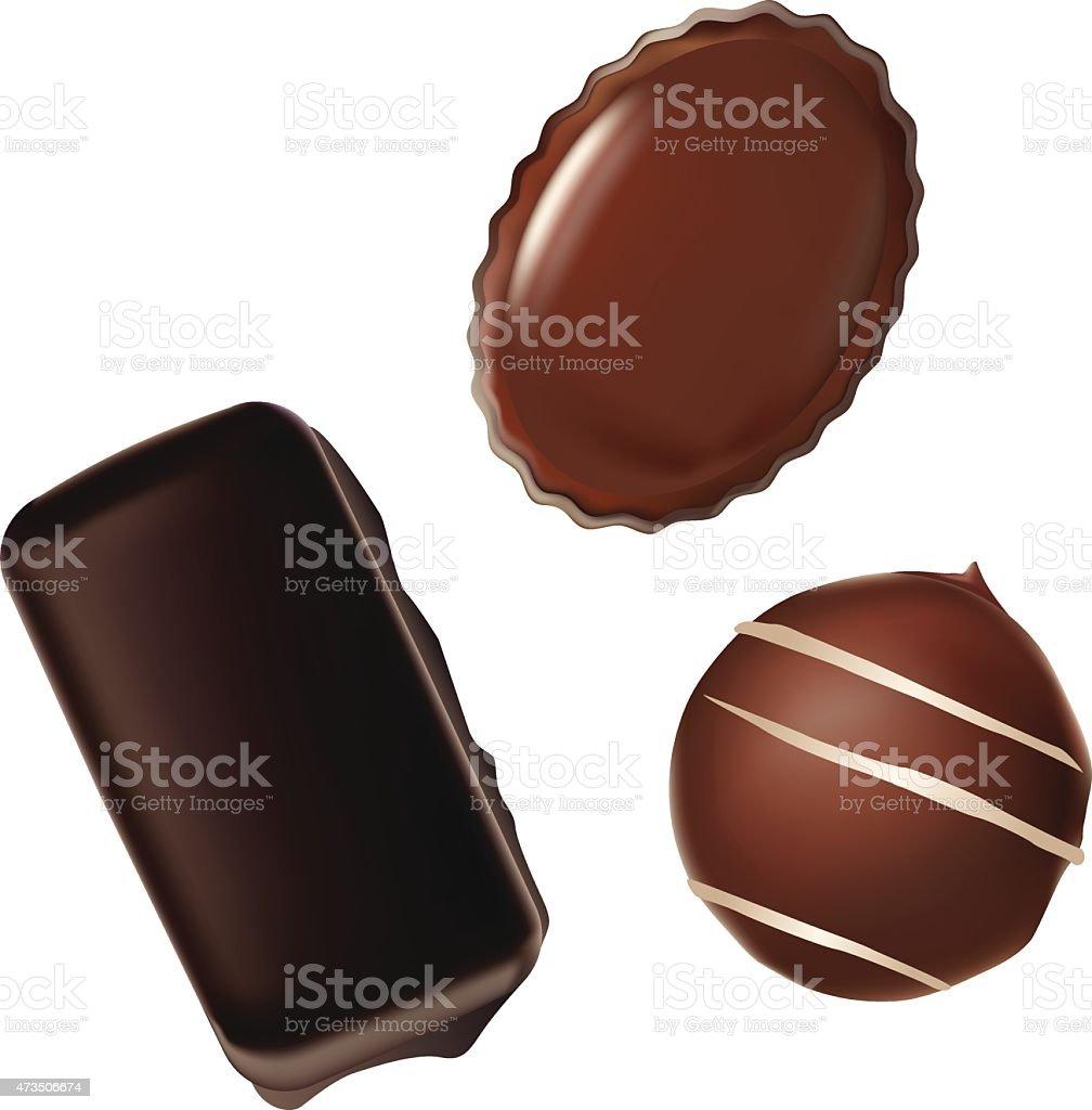 Choice of chocolates vector art illustration