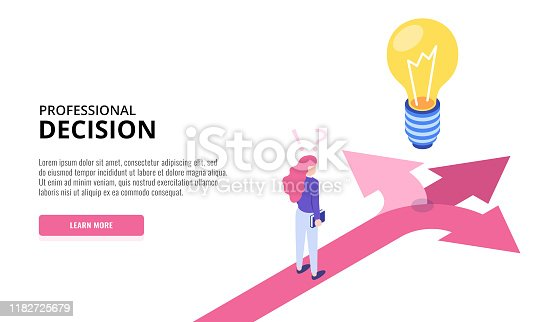 Choice process. Direction choose options, solution, decision. Woman thinking. Web banner. Isometric vector illustration.