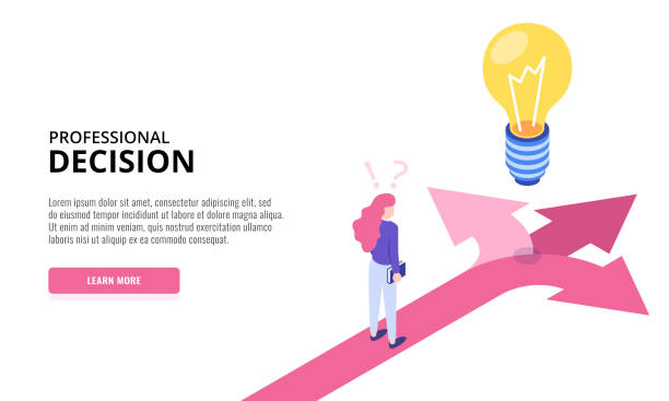 Choice process. Direction choose options, solution, decision. Woman thinking. Web banner. Isometric vector illustration. Choice process. Direction choose options, solution, decision. Woman thinking. Web banner. Isometric vector illustration. choice stock illustrations