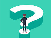 Choice process flat vector illustration. Direction choose options, solution, decision. Abstract confuse concept, confusion symbol. Making person, visualization of professional life. Arrow and question