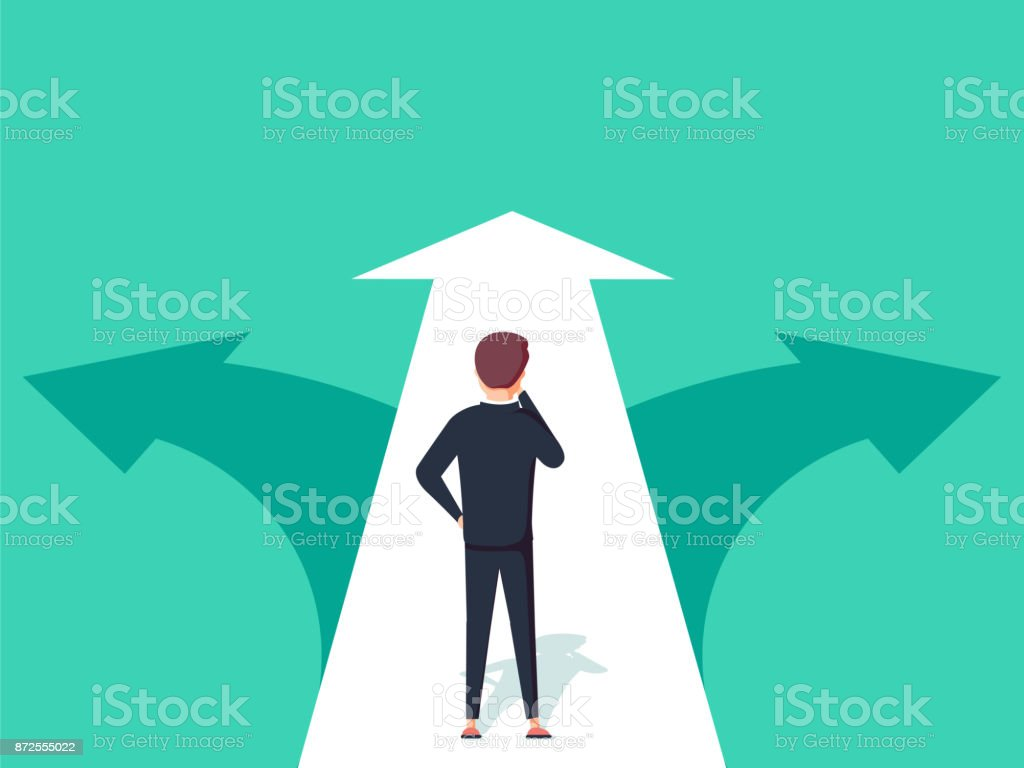 Choice way concept. Decision business metaphor. Vector flat style design. Isolated on background. royalty-free choice way concept decision business metaphor vector flat style design isolated on background stock illustration - download image now