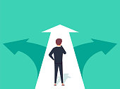 Choice way concept. Decision business metaphor. Vector flat style design. Isolated on background.