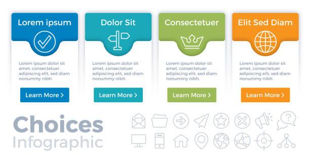 entscheidungen-infografik - menu card stock-grafiken, -clipart, -cartoons und -symbole