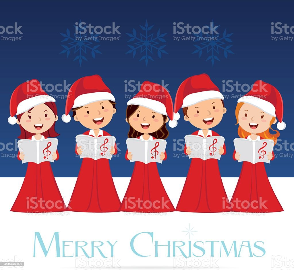 Choir Christmas Concert vector art illustration