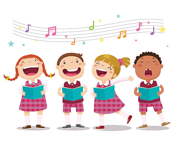 Choir girls and boys singing a song Vector illustration of choir girls and boys singing a song gospel choir stock illustrations