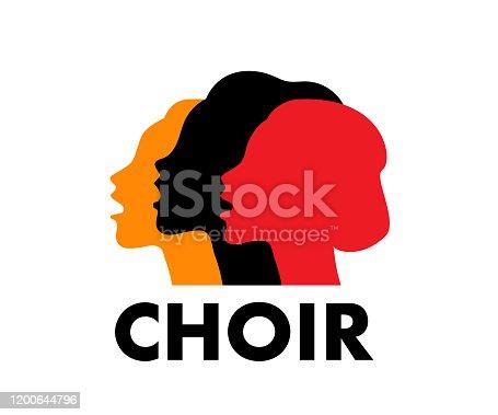 istock Choir logo vector illustration. Singing people, music. 1200644796