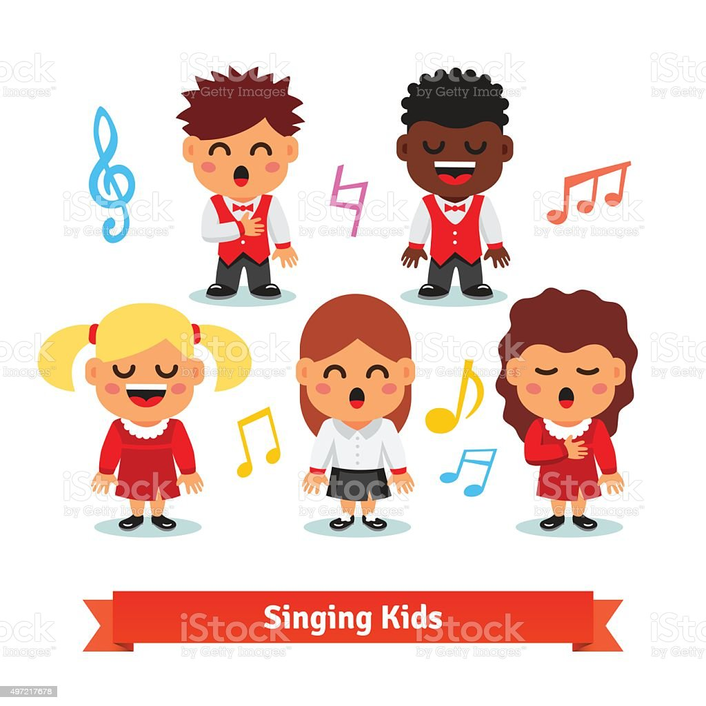 Choir of kids singing. Boys and girls vector art illustration