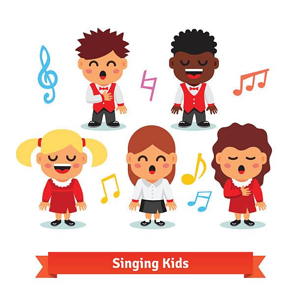 Black Kids in a Church Choir - Royalty Free Clipart Image