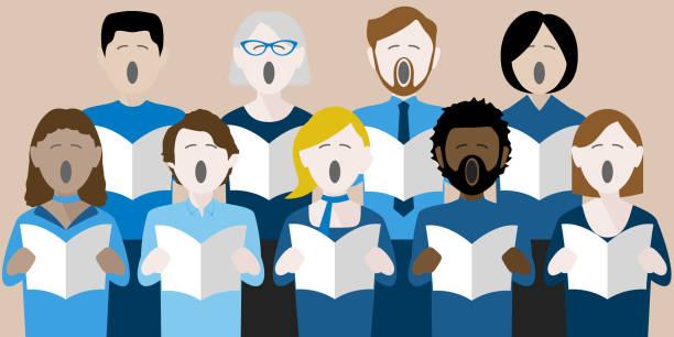 stockillustraties, clipart, cartoons en iconen met zangers van het koor - zingen