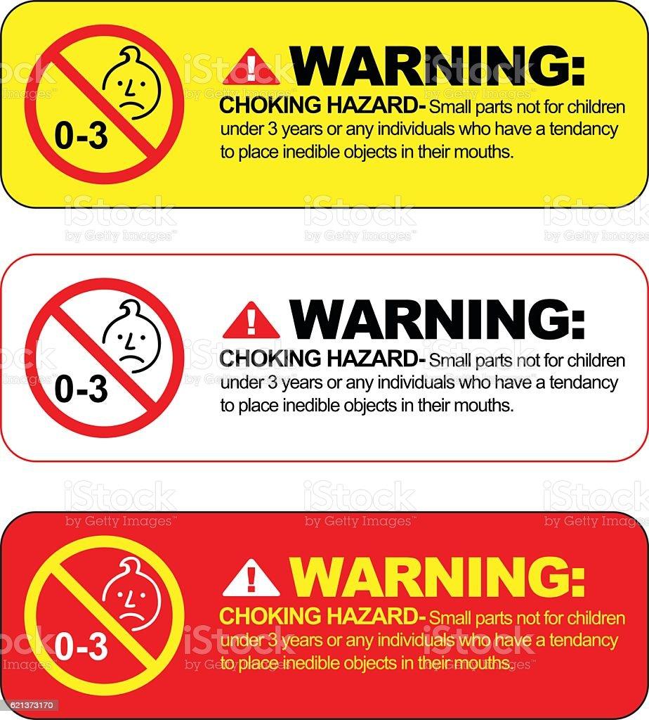Choking hazard warning vector sign. vector art illustration