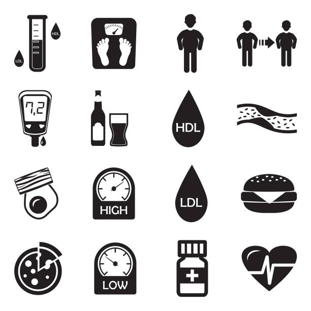 Cholesterol Icons. Black Flat Design. Vector Illustration. Fat, Diet, Food, Drink cholesterol stock illustrations