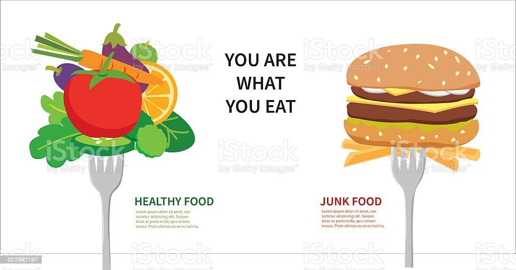 Choose between healthy food and junk food vector art illustration