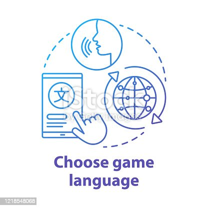 Choose game language blue gradient concept icon. Select quest translation idea thin line illustration. Multilingual communication. Different linguistic features. Vector isolated outline drawing