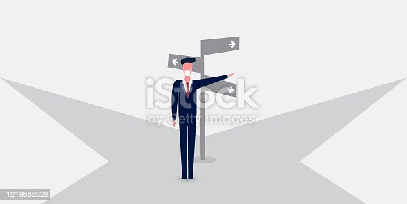 Business Decision Design Concept with Businessman, Crossroads and Road Sign - Eps10 Vector Illustration