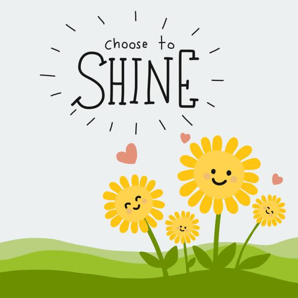 bildbanksillustrationer, clip art samt tecknat material och ikoner med välj att shine word och söta solros tecknade doodle - happy driver