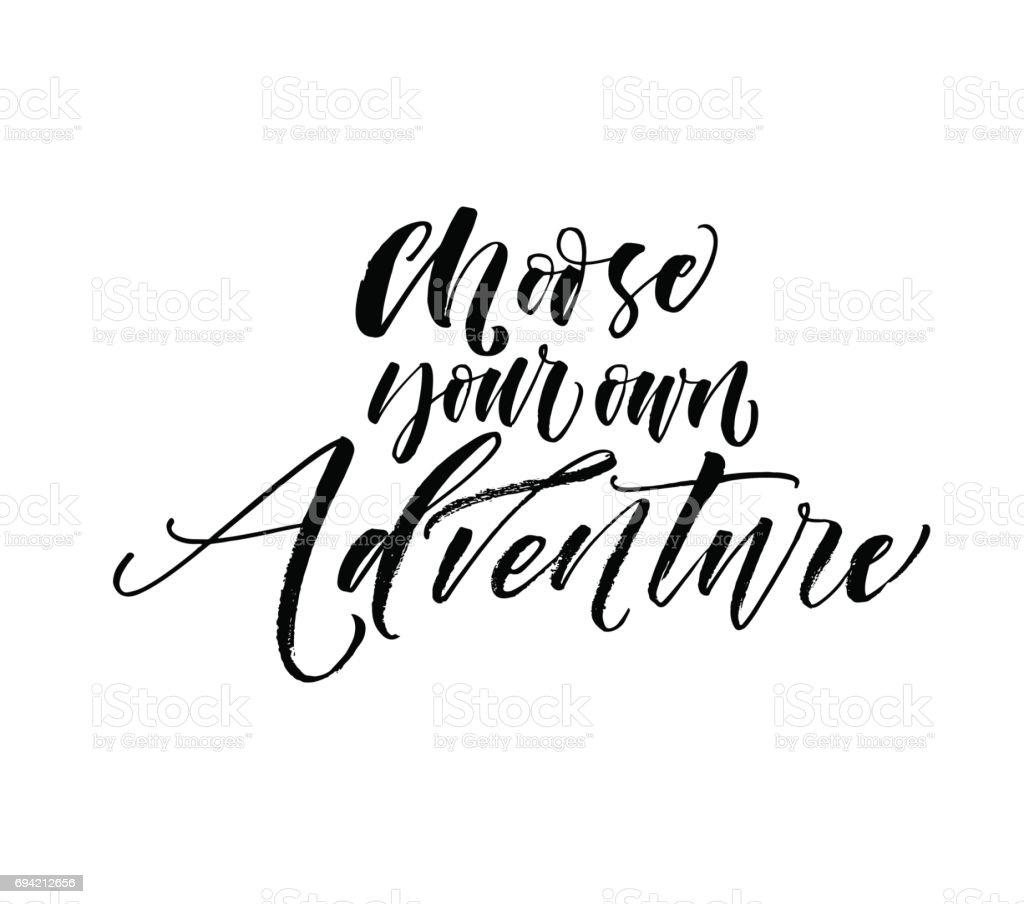 Choose your own adventure postcard. vector art illustration