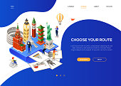 Choose your route - colorful isometric web banner with copy space for text. Website header with world famous landmarks, tourists. Statue of Liberty, Eiffel tower, Big Ben, Kremlin, pagoda, Colosseum