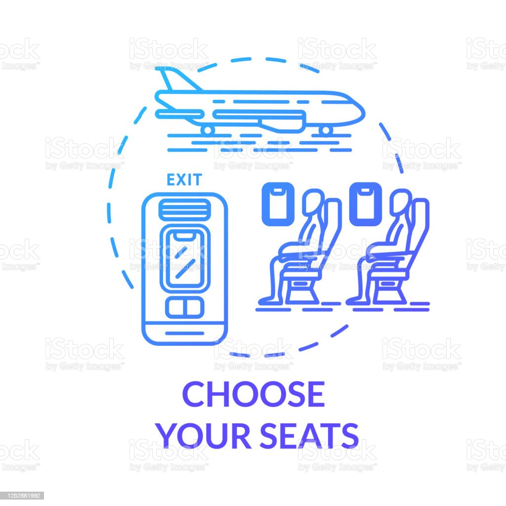 Choose your seats concept icon. Airplane tickets booking idea thin line illustration. Passenger transport seat map. Traveling by plane. Vector isolated outline RGB color drawing - Векторная графика Абстрактный роялти-фри